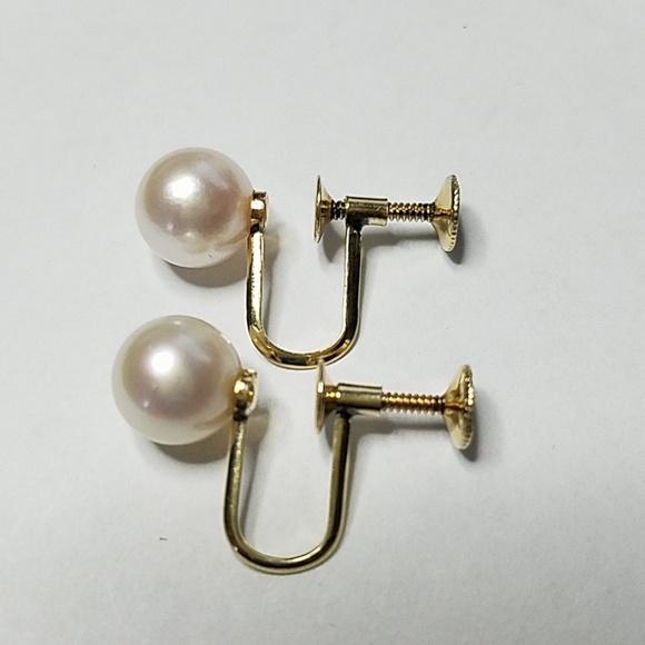 MIKIMOTO Jewelry - MIKIMOTO 14K Gold 8mm Akoya Peal Earrings